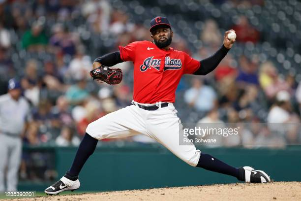 Francisco Perez of the Cleveland Indians pitches against the Kansas City Royals in the third inning during game two of a doubleheader at Progressive...