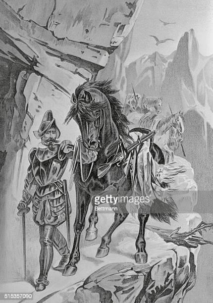 Francisco Pizarro leading his men through the Cardilleres del Los Andes on his way to meet the Incas at Atahnalpa at Caxamalca