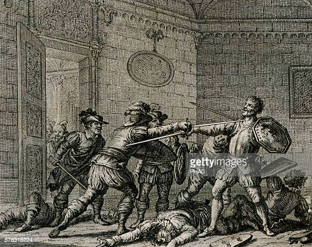 Francisco Pizarro Spanish conqueror Conquered the Incan Empire The son of Diego Almagro assassinating Pizarro in Lima Peru 1541 Engraving 18th century
