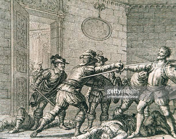 Francisco Pizarro Spanish conqueror Murder of Pizarro Engraving 18th century