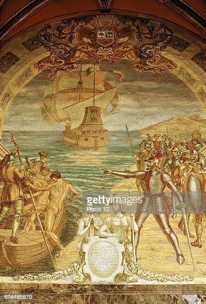 Francisco Pizarro Spanish conquistador Pizarro and his soldiers on the island of Gallo Mosaic from Pizarro's tomb in Lima Cathedral
