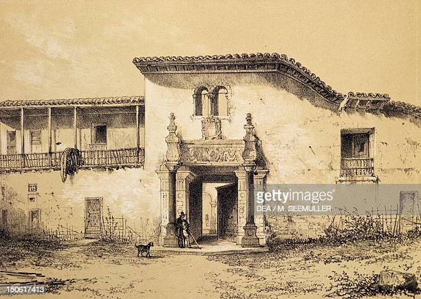 Francisco Pizarro's house in Cuzco engraving 1853 Peru 16th century