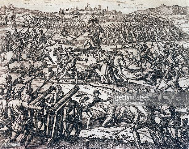 Francisco Pizarro's troops capturing the Inca Emperor Atahualpa during the Battle of Cajamarca November 16 Peru engraving from American History by...