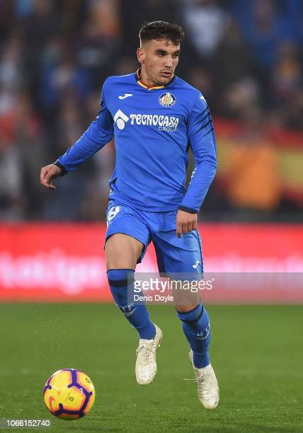 Francisco Portillo of Getafe CF in action during the La Liga match between Getafe CF and Valencia CF at Coliseum Alfonso Perez on November 10 2018 in...