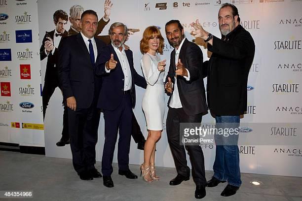 Francisco Ramos Imanol Arias Alexandra Jimenez Javier Ruiz and Daniel Rojo attend the Spanish premiere of the movie 'Anacleto Agente Secreto' on...