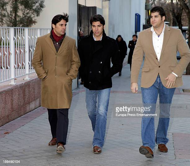 Francisco Rivera Cayetano Rivera and Julian Contreras attend court on January 14 2013 in Madrid Spain The bullfighter Francisco Rivera and ex wife...