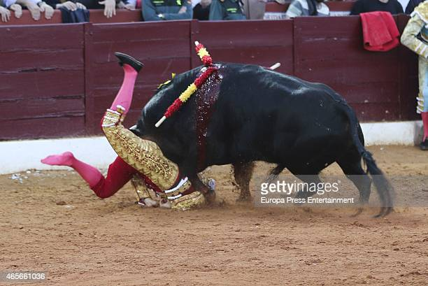Francisco Rivera is gored during his return to bullfighting at Olivenza Fair on March 8 2015 in Olivenza Spain