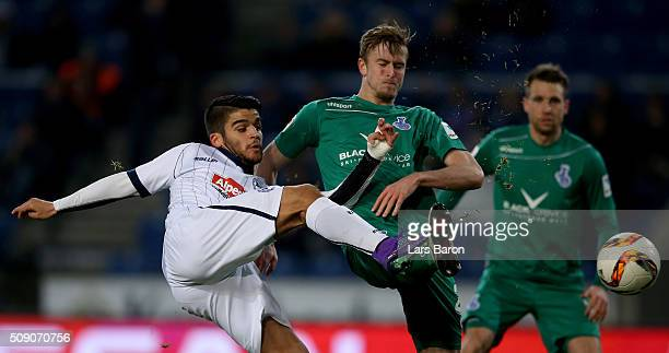 Francisco Rodriguez of Bielefeld is challenged by Thomas Meissner of Duisburg during the Second Bundesliga match between Arminia Bielefeld and MSV...