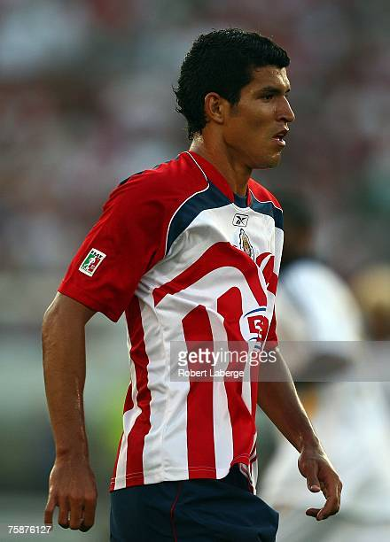 Francisco Rodriguez of CD Chivas de Guadalajara looks on in the first half during their SuperLiga match against the Los Angeles Galaxy at the Los...