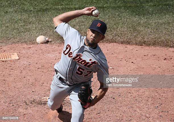 Francisco Rodriguez of the Detroit Tigers delivers a pitch in the ninth inning during MLB game action against the Toronto Blue Jays on July 9 2016 at...