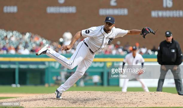 Francisco Rodriguez of the Detroit Tigers pitches during the ninth inning of the game against the Boston Red Sox on April 10 2017 at Comerica Park in...