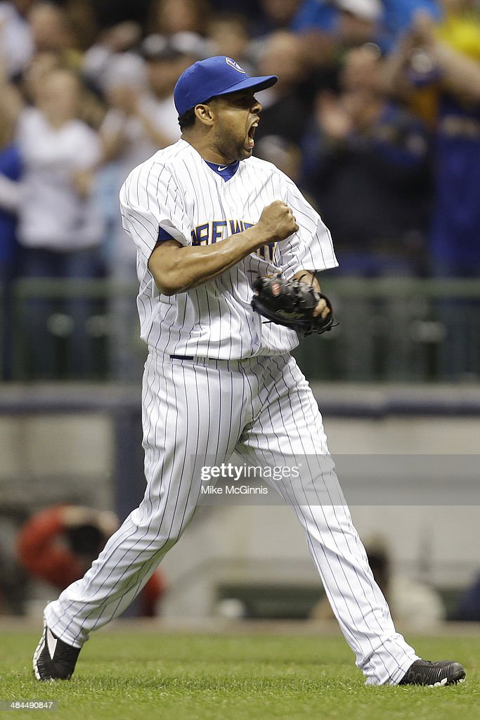 Francisco Rodriguez #57 of the Milwaukee Brewers celebrates after the 3-2 win over the Pittsburgh Pirates at Miller Park on April 12, 2014 in Milwaukee, Wisconsin.