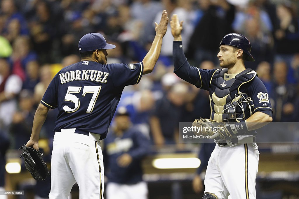 Francisco Rodriguez #57 of the Milwaukee Brewers celebrates after the 4-2 win over the Miami Marlins at Miller Park on September 11, 2014 in Milwaukee, Wisconsin.