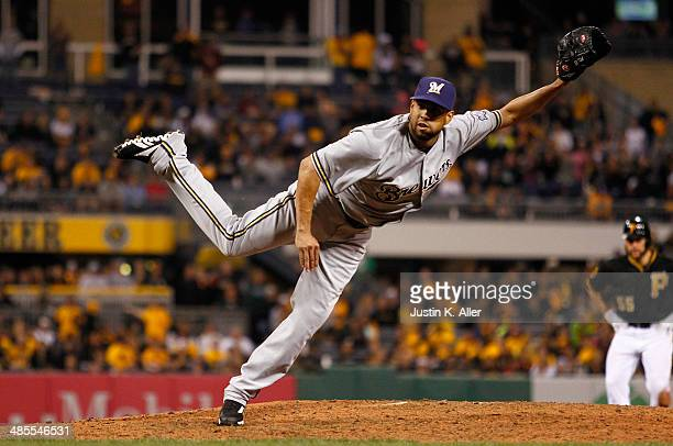 Francisco Rodriguez of the Milwaukee Brewers pitches in the ninth inning against the Pittsburgh Pirates during the game at PNC Park April 18 2014 in...