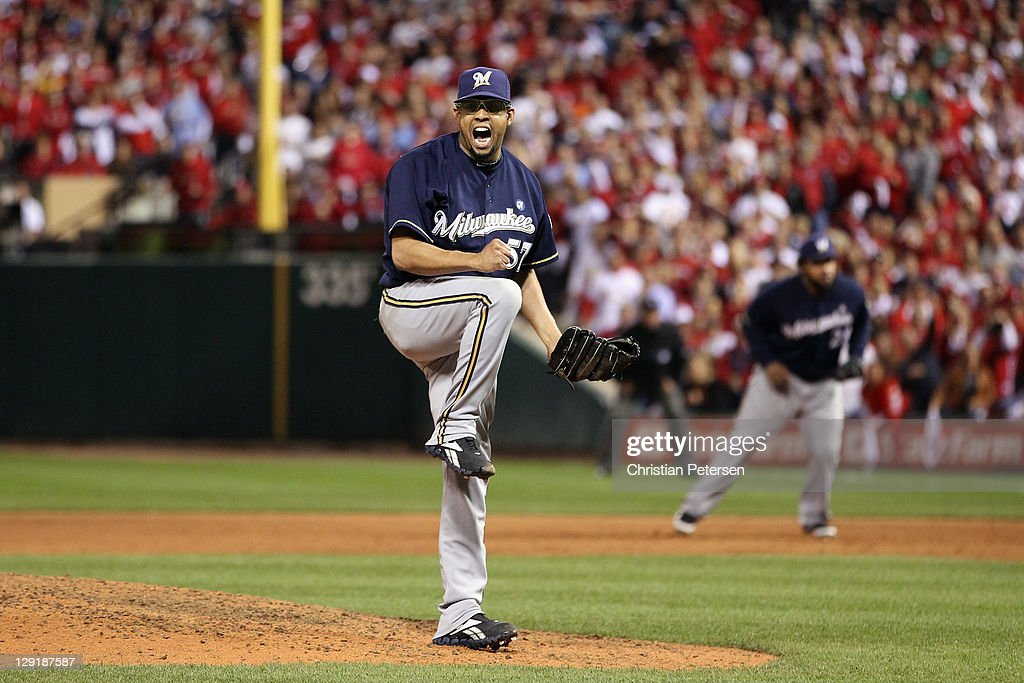 Francisco Rodriguez #57 of the Milwaukee Brewers reacts after he struck out Yadier Molina #4 of the St. Louis Cardinals to end the bottom of the eighth inning during Game 4 of the National League Championship Series at Busch Stadium on October 13, 2011 in St. Louis, Missouri.