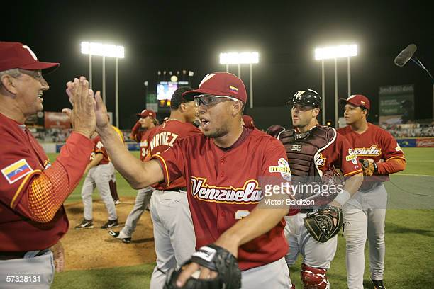 Francisco Rodriguez of Venezuela celebrates a victory over Puerto Rico after the WBC game against Puerto Rico at Hiram Bithorn Stadium in San Juan...