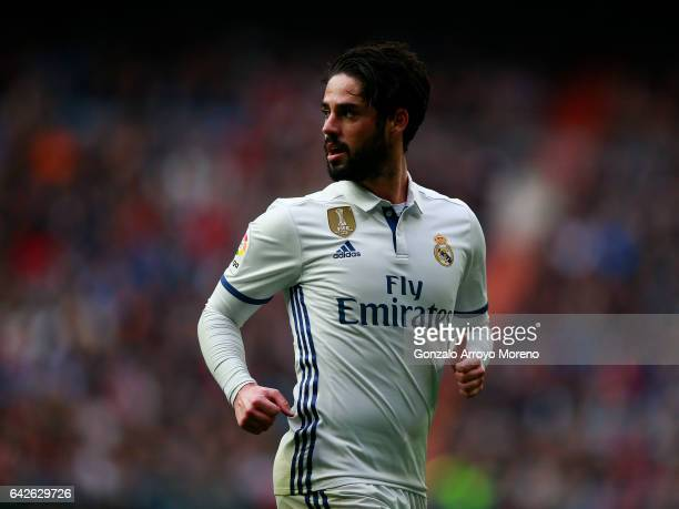 Francisco Roman Alarcon alias Isco looks on during the La Liga match between Real Madrid CF and RCD Espanyol at Estadio Santiago Bernabeu on February...