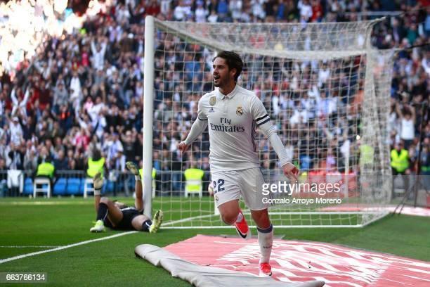 Francisco Roman Alarcon alias Isco of Real Madrid CF celebrates scoring their second goal during the La Liga match between Real Madrid CF and...