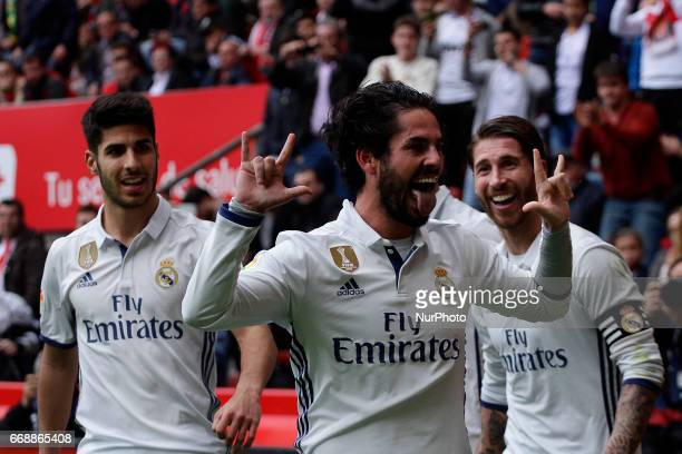 Francisco Roman quotIscoquot midfielder of Real Madrid and other players of Real Madrid celebrate the goal of the victory during the La Liga...