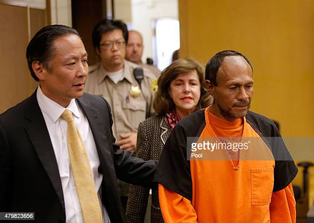 Francisco Sanchez enters court for an arraignment with San Francisco public defender Jeff Adachi on July 7 2015 in San Francisco California Francisco...