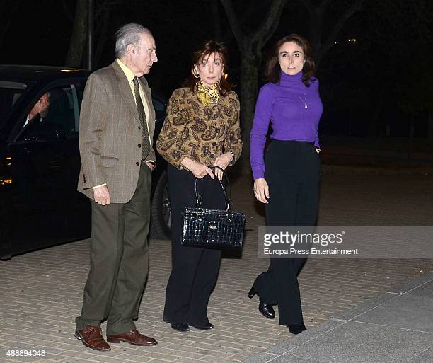 Francisco Segrelles, Paloma Segrelles and Paloma Segrelles Jnr attend the funeral chapel for Prince Kardam of Bulgaria on April 7, 2015 in Madrid,...