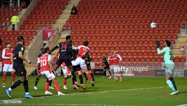 Francisco Sierralta of Watford scores their side's first goal past Jamal Blackman of Rotherham United during the Sky Bet Championship match between...
