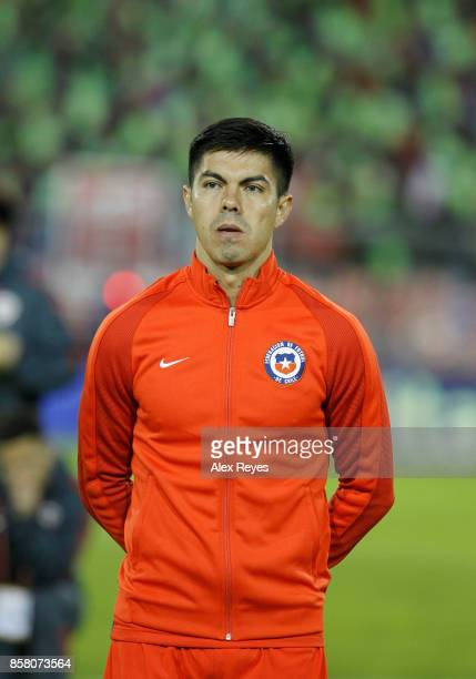Francisco Silva of Chile looks on during the national anthem prior a match between Chile and Ecuador as part of FIFA 2018 World Cup Qualifiers at...