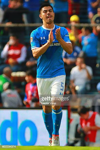 Francisco Silva of Cruz Azul celebrates after scoring the third goal of his team during the 8th round match between Cruz Azul and America as part of...