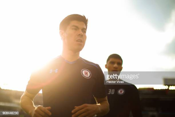 Francisco Silva of Cruz Azul enters to the field prior the 3rd round match between Cruz Azul and Leon as part of the Torneo Clausura 2018 Liga MX at...