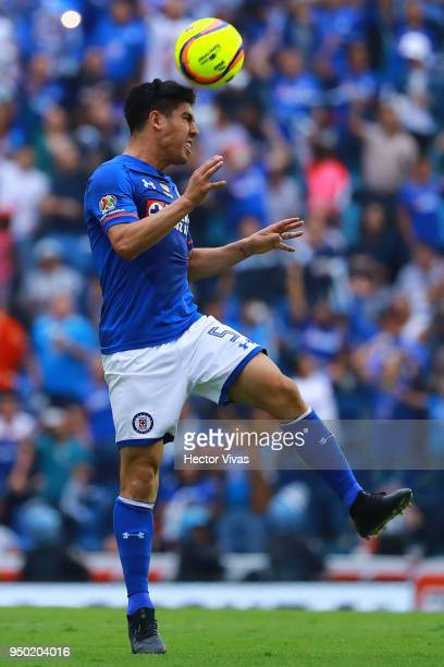 Francisco Silva of Cruz Azul heads the ball during the 16th round match between Cruz Azul and Morelia as part of the Torneo Clausura 2018 Liga MX at...