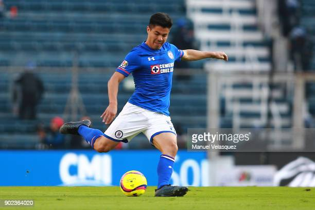 Francisco Silva of Cruz Azul kicks the ball during the first round match between Cruz Azul and Tijuana as part of the Torneo Clausura 2018 Liga MX at...