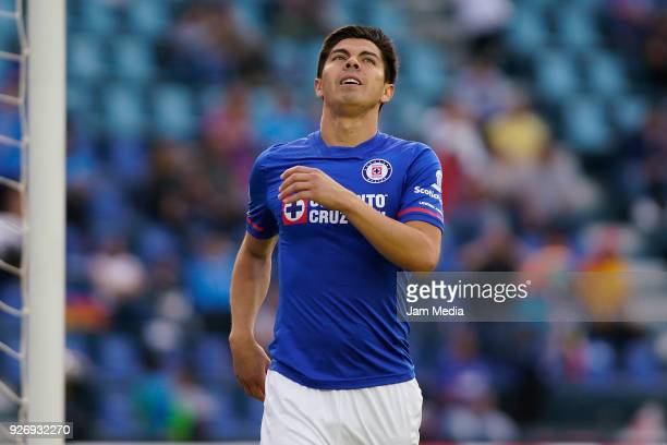 Francisco Silva of Cruz Azul reacts after missing a penalty shot during the 10th round match between Cruz Azul and Queretaro as part of the Torneo...