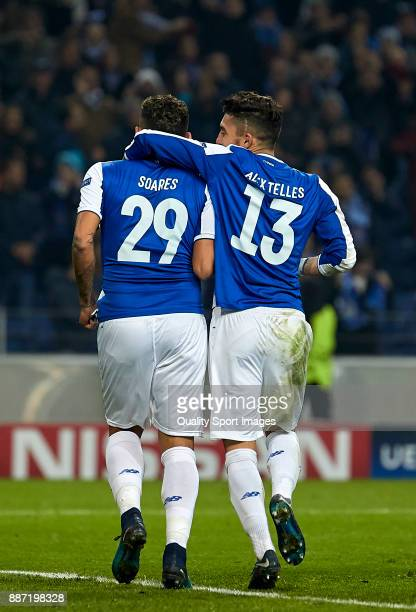 Francisco Soares and Alex Telles of FC Porto celebrate the fifth goal during the UEFA Champions League group G match between FC Porto and AS Monaco...