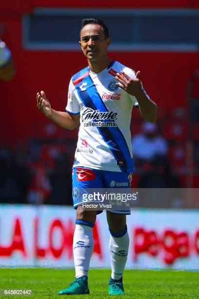 Francisco Torres of Puebla celebrates after scoring the third goal of his team during the 8th round match between Toluca and Puebla as part of the...