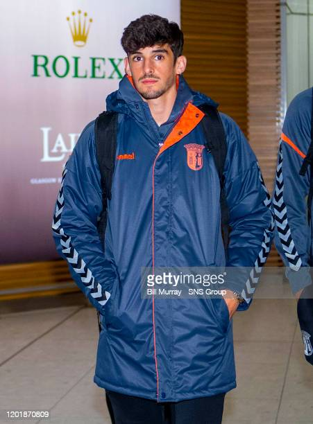 Francisco Trincao is pictured as SC Braga arrive in Glasgow ahead of their Europa League tie with Rangers at Glasgow Airport on February 19 in...