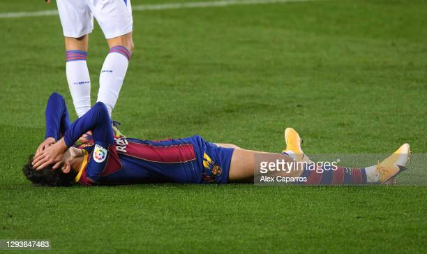 Francisco Trincao of Barcelona reacts during the La Liga Santander match between FC Barcelona and SD Eibar at Camp Nou on December 29, 2020 in...