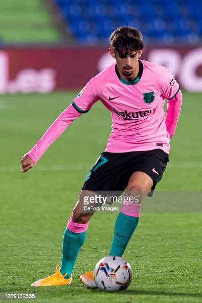 Francisco Trincao of FC Barcelona controls the ball during the La Liga Santader match between Getafe CF and FC Barcelona at Coliseum Alfonso Perez on...
