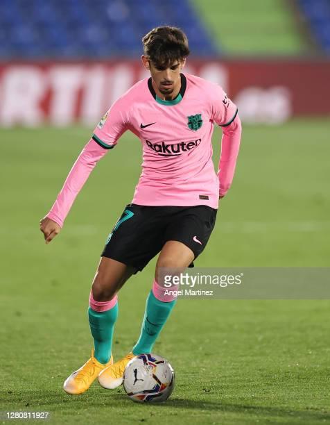 Francisco Trincao of FC Barcelona in action during the La Liga Santander match between Getafe CF and FC Barcelona at Coliseum Alfonso Perez on...