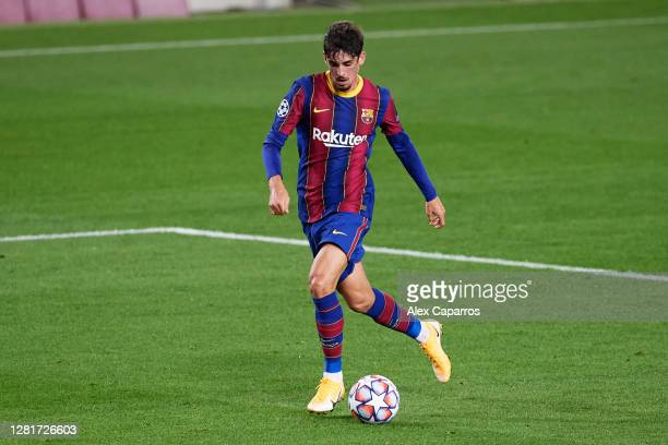 Francisco Trincao of FC Barcelona runs with the ball during the UEFA Champions League Group G stage match between FC Barcelona and Ferencvaros...