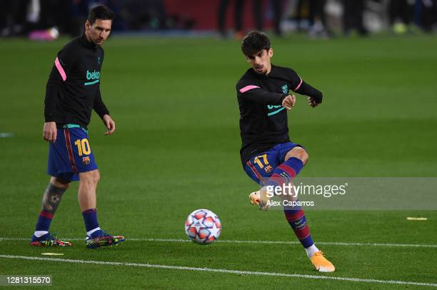 Francisco Trincao of FC Barcelona warms up prior to the UEFA Champions League Group G stage match between FC Barcelona and Ferencvaros Budapest at...