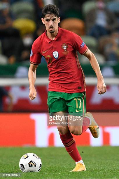 Francisco Trincao of Portugal controls the ball during the international friendly match between Portugal and Spain at Estadio Jose Alvalade on...
