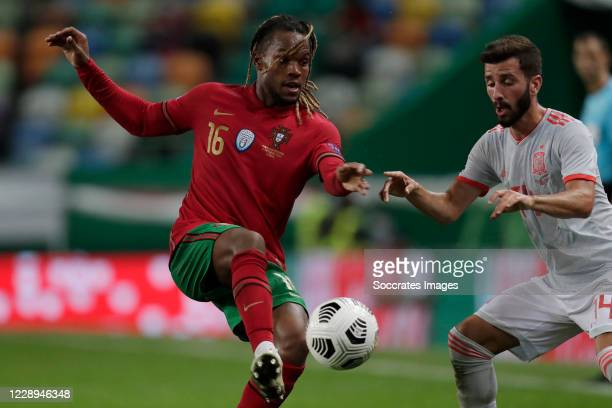 Francisco Trincao of Portugal Jose Gaya of Spain during the International Friendly match between Portugal v Spain at the Jose Alvalade stadium on...