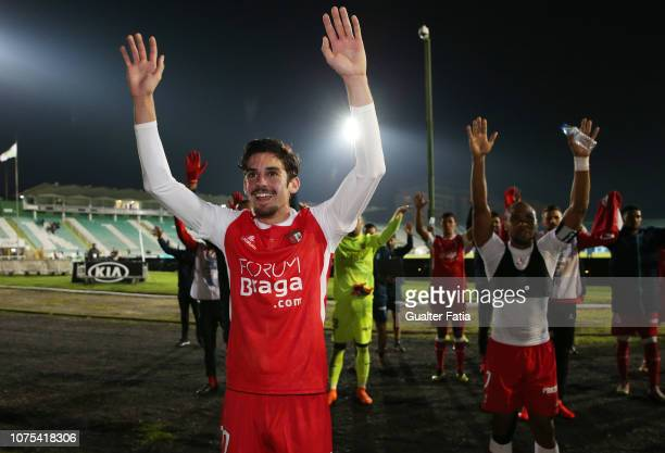 Francisco Trincao of SC Braga celebrates the victory with supporters at the end of the Portuguese League Cup match between Vitoria FC and SC Braga at...