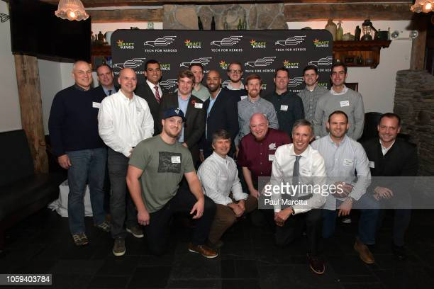 Francisco Urena poses with veterans at DraftKings Hosts Veterans Appreciation Event at MJ O'Connors on November 8 2018 in Boston Massachusett