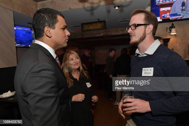 Francisco Urena speaks with a veteran at DraftKings Hosts Veterans Appreciation Event at MJ O'Connors on November 8 2018 in Boston Massachusett