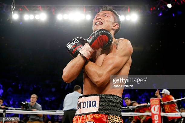 Francisco Vargas celebrates his 9th round TKO victory against Takashi Miura in their WBC super featherweight title fight at the Mandalay Bay Events...