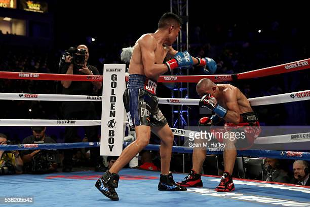 Francisco Vargas forces Orlando Salido into the ropes during their WBC super featherweight championship bout at StubHub Center on June 4 2016 in...