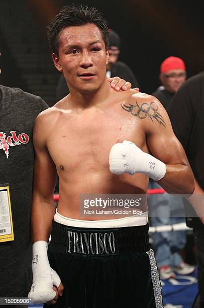 Francisco Vargas of Mexico celebrates defeating Victor Sanchez during their Junior Lightweight bout at the MGM Grand Garden Arena on September 15...