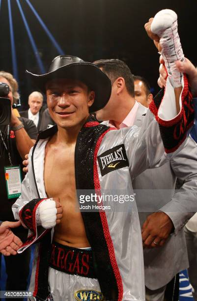Francisco Vargas poses after his TKO victory over Juan Manuel Lopez during their super featherweight bout at the MGM Grand Garden Arena on July 12...