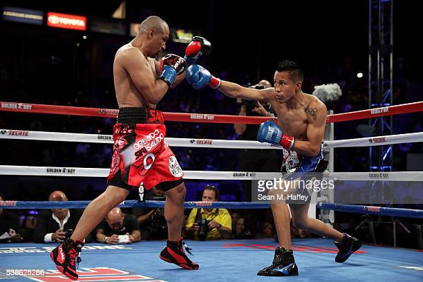 Francisco Vargas throws a right to Orlando Salido during their WBC super featherweight championship bout at StubHub Center on June 4 2016 in Carson...